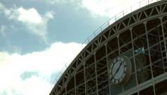 Timelapse clock old railway station - Exhibition Hall Manchester Stock Footage