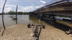 Timelapse of Loading boat on a ramp and towing on road Stock Footage