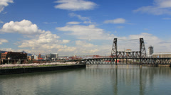 Portland OR Downtown with Cherry Blossom Trees and Steel Bridge in Spring Season Stock Footage
