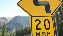 20 MPH turn sign - stock footage