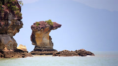 Sea stack in south China sea (Borneo). Stock Footage