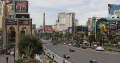 Ultra HD 4K UHD Car Traffic Rush Hour Las Vegas Strip Eiffel Tower Hotel Casino Stock Footage