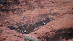 Rock Climbers Climb A Big Wall in Red Rock Canyon, Las Vegas, Nevada Stock Footage