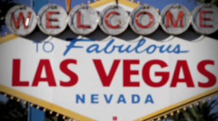 Welcome to las vegas sign rack focus Stock Footage