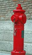 Red fire hydrant available of firefighters Stock Photos