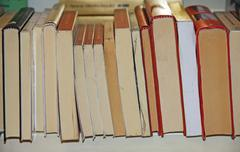Stock Photo of pages of books lined up for sale in a great bookstore