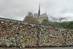 Padlocks of love on a bridge in paris Stock Photos