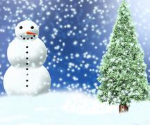 snowman christmas backdrop - stock illustration