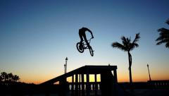 BMX 360 Silhouette Slow Motion Stock Footage