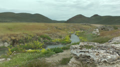 Hot spring creek with flowers, 9 Stock Footage