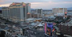 Ultra HD 4K Night Dusk Las Vegas Strip Caesars Palace Gaming Blackjack Roulette Stock Footage