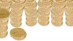 Stacks of British Coins Stock Footage