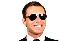 Closeup portrait of handsome pilot in glasses Stock Photos