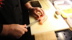 Preparing Salmon Avocado Roll Stock Footage
