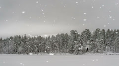 Grayscale winter landscape with snowflakes falling Stock Footage