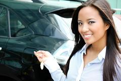 Young attractive asian businesswoman closes the door of her car Stock Photos