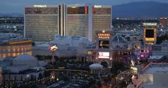 Ultra HD 4K Las Vegas Strip Boulevard Caesars Palace Casino Aerial View night US Stock Footage
