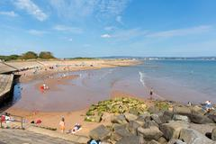 Dawlish Warren beach Devon England with holidaymakers - stock photo