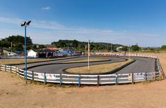 Go Karts and track Dawlish Warren Devon England - stock photo