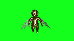 Stock Video Footage of Golden Cherub hovering and flapping wings against green loop
