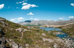 Khibiny mountain landscape with highland lakes in north of kola peninsula, ru Stock Photos