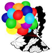 Stock Illustration of girl with multicolor balloons