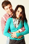 Stock Photo of smiling young couple isolated