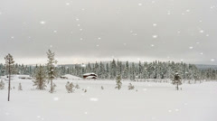 Snow covered winter village Stock Footage