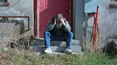 Homeless man cold hungry sad in winter coat HD 0141 Stock Footage