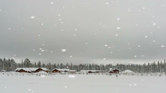 Scenic rural winter landscape with a small village Stock Footage