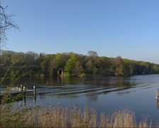 Pan Lake Jungfernsee, a part of river Havel, Potsdam - Berlin Stock Footage