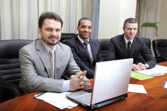 multi ethnic business team at a meeting. interacting - stock photo
