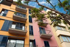 Beautiful colorful spanish apartments Stock Photos