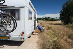journey by mobile home - stock photo