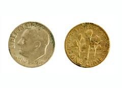 old quarter dime - stock photo
