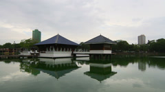 Seema Malaka Temple, Lake Beria Stock Footage