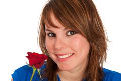 beautiful girl with rose - stock photo