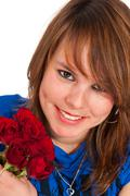 beautiful girl with roses - stock photo