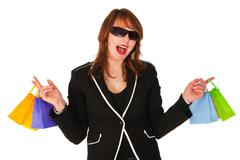 exciting shopping pretty girl - stock photo