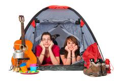 Couple in tent Stock Photos