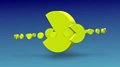 Packman Retro icon spinning with alpha Stock Footage
