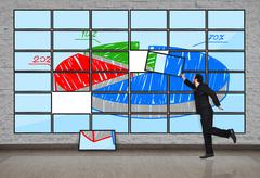 Plasma panel with chart Stock Photos