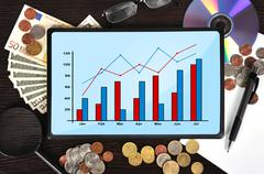 Stock Illustration of tablet with chart