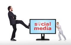 monitor with social media - stock photo