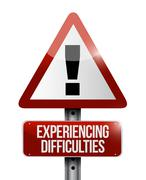 experiencing difficulties warning road sign - stock illustration