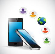smartphone social mead management network - stock illustration