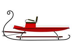 retro sleigh - stock illustration