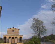 Pan - Campanile + Church of the Redeemer in Sacrow, Berlin Stock Footage