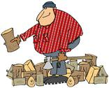 Stock Illustration of Lumberjack splitting wood