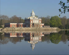 View across the Holy Lake at Marble Palace of Friedrich Wilhelm II of Prussia Stock Footage